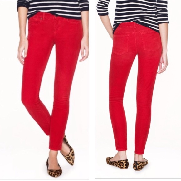 J.Crew Toothpick Ankle Skinny Red Jeans